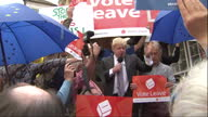 Shows exterior shots Conservative MP and 'Out' Campaigner Boris Johnson speaking at EU Referendum 'Vote Leave' Campaign event QUOTE 'I'm totally in...
