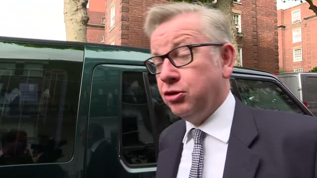 Shows exterior shots Conservative MP and UK Environment Secretary Michael Gove leaving home and interview soundbite speaking on looking forward to...