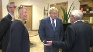 Shows exterior shots Conservative MPs and 'Out' Campaigners Priti Patel Michael Gove and Boris Johnson arriving at Farmhouse Biscuits Interior shots...