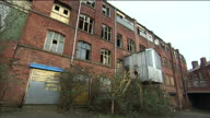 Shows exterior shots derelict buildings in Sheffield old factories on January 13 2015 in Sheffield England