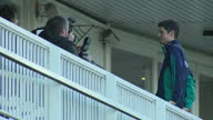 Shows exterior shots former England Cricket Captain Alistair Cook standing on balcony at Lord's Cricket Ground posing for photographs Alastair Cook...