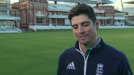 Shows exterior shots former England Cricket Captain Alistair Cook interview soudbite speaking on steeping down as captain Alastair Cook has spoken of...