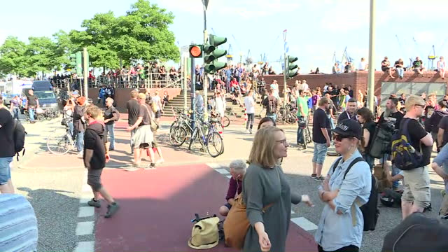 Shows exterior shots G20 protesters gathered near port in Hamburg The US President Donald Trump has today warned that the future of the Western World...