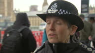 Shows exterior shots interview soundbite with Metropolitan Police Commissioner Cressida Dick speaking on escalation of terror threat and ways it is...