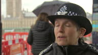 Shows exterior shots interview soundbite with Metropolitan Police Commissioner Cressida Dick speaking on message to public and visitors to London...