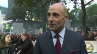 CLEAN Shows exterior shots interview with actor Mark Strong speaking on making the film and playing lots of spies on the orange carpet at the World...