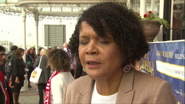 Shows exterior shots interview with Labour MP and Shadow Industiral Strategy Minister Chi Onwurah speaking on Theresa May's lack of action in trying...