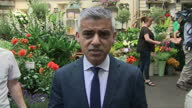 Shows exterior shots interview with London Mayor Sadiq Khan speaking on Grenfell Tower Block fire and emergency services response QUOTE'My thoughts...