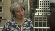 Shows exterior shots interview with UK Prime Minister Theresa May speaking on not sending money to the EU after BREXIT Theresa May and Boris Johnson...