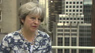 Shows exterior shots interview with UK Prime Minister Theresa May answering question about how secure she feels in job QUOTE 'I'm doing what I always...