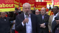 Shows exterior shots Labour Leader and MP Jeremy Corbyn at a Labour Party rally in Croydon London and Corbyn soundbite saying 'Thank you very much'...