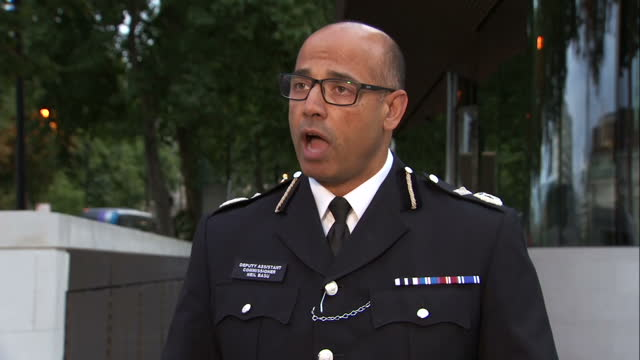 Shows exterior shots Metropolitan Police Deputy Assistant Commissioner Neil Basu at press conference speaking on Parsons Green Terror attack arrest...
