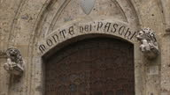 Shows exterior shots Monte Dei Paschi di Siena the world's oldest bank and UniCredit in Sienna The European Union is facing fresh turmoil this...