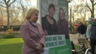 Shows exterior shots Natalie Bennett Green Party leader talking about the Old Boy's club in Westminster how the Green's want to change that on...