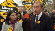 Shows exterior shots new MP Sarah Olney and Liberal Democrats Leader Tim Farron MP arriving at Lib Dems celebration event following shock win in...