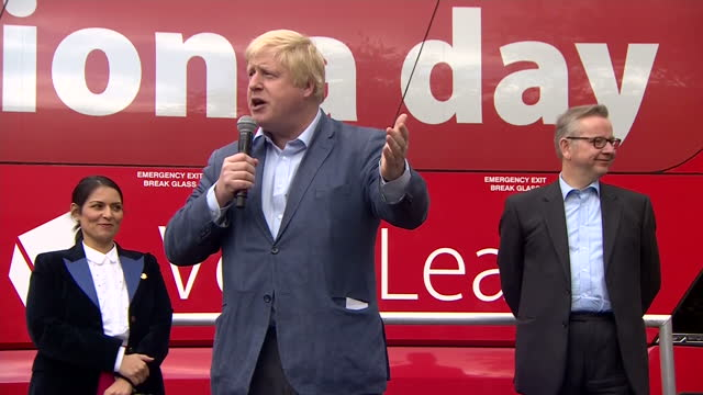 Shows exterior shots 'Out' Campaigners and Conservative MP's Priti Patel Michael Gove and Boris Johnson alighting from Vote Leave EU Referendum...