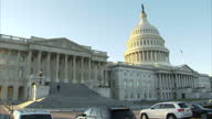 Shows exterior shots panning across the United State Capitol Building exteriors on February 01 2017 in Washington DC