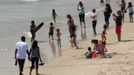 Shows exterior shots people enjoying the beach and sea on Santa Monica beach on 26th July 2017 in California USA