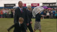 Shows exterior shots Prince Charles Prince of Wales and Camilla Duchess of Cornwall meeting officals and members of the public at Sandringham Flower...
