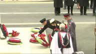 Shows Exterior shots Prince Edward Earl of Wessex Princess Anne Princess Royal and Prince Edward Duke of Kent laying commemorative wreaths at The...