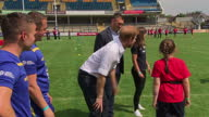 Shows exterior shots Prince Harry speaking to kids and Rugby players and taking part in rugby activity at the Sky Try Rugby Festival at Headingley...