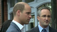 Shows exterior shots Prince William Duke of Cambridge arriving at Paper Cup a cafe run by the charity Spitalfields Crypt Trust and shaking hands with...