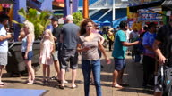 Shows exterior shots rides and crowds of visitors Pacific Park Amusement park on Santa Monica Pier on 26th July 2017 in Santa Monica Beach California...