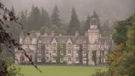 Shows exterior shots Royal Residence Balmoral Castle in the Highlands on a gloomy rainy day on 21st September 2017 in Balmoral near Inverness Scotland