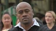 Shows Exterior shots Rugby legend Jonah Lomu performing a Ka Mate haka led by the Ngati Ranana London Maori Club in Covent Garden in London Rugby...