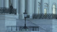 Shows exterior shots security officers and police officers at the United States Capitol Building on February 01 2017 in Washington DC