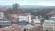 Shows exterior shots Sheffield city skyline timelapse at the start on January 13 2015 in Sheffield England