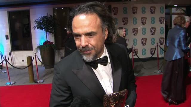 Shows Exterior shots soundbite Director Alejandro Gonzalez Inarritu on winning BAFTA Award for The Revenant The filmmaker was competing against Adam...