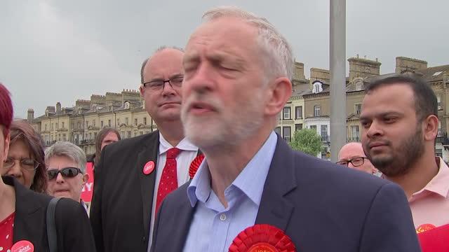 Shows exterior shots speech soundbite Labour Leader Jeremy Corbyn speaking on Labour's promise to guarantee the triple lock on pensions Jeremy Corbyn...