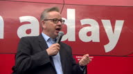 Shows exterior shots speech soundbite with Conservative MP and 'Out' Campaigner Michael Gove speaking on EU Referendum and independence for UK on...