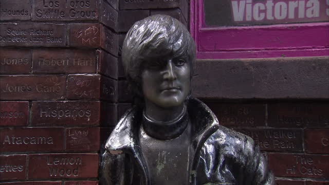 Shows exterior shots statue of John Lennon outside the Cavern Club on August 03 2015 in Liverpool England