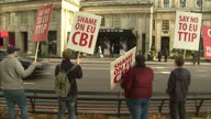 Shows Exterior shots student protesters chanting holding placards against the EU TTIP outside CBI conference The Prime Minister has been heckled by...