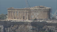 Shows exterior shots the Parthenon temple at the top of the ancient Acropolis citadel on July 22 2015 in Athens Greece