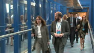 Shows exterior shots Theresa May's advisors Nick Timothy and Fiona Hill leaving Conservative Party HQ morning after the 2017 UK General Election...