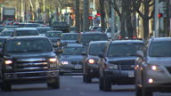 Shows exterior shots traffic mainly cars driving along road on 13th February 2017 in Washington DC United States
