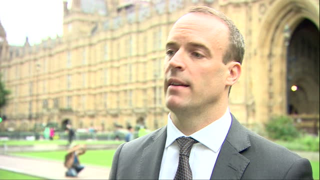 Shows exterior shots UK Justice Secretary Dominic Raab MP speaking on employment tribunal fees QUOTE 'We're obviously disappointed to get a judgement...