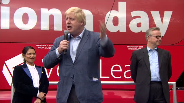 Shows exterior shots UK MP Boris Johnson campaigning for BREXIT during 2016 EU Referendum Campaign in UK Exterior interview with Former Deputy Prime...