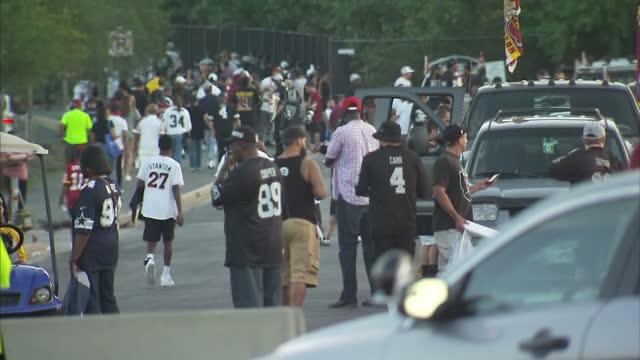 Shows exterior shtos NFL fans arriving outside Fedex Field Stadium on 25th September 2017 in Washington DC USA