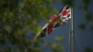 Shows exterior shtos Union Jack flag on top of the Houses of Parliament in Westminster on a sunny day on the 19th April 2017 in London England