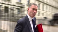 Shows exterior shtos Work and Pensions Secretary David Gauke walking out of Downing Street after Cabinet Meeting and soundbite on united Cabinet...