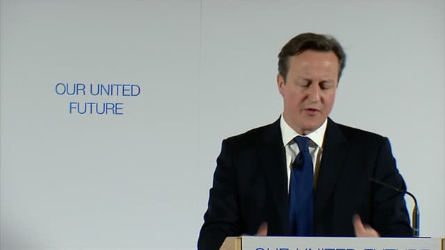 Shows interior shots David Cameron speaking in Edinburgh at 'United Future' event on January 22 2015 in Edinburgh Scotland