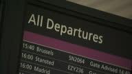 Shows interior shots departures board inside Edinburgh Airport on January 22 2015 in Edinburgh Scotland