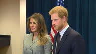 Shows interior shots First Lady of USA Melania Trump meeting Prince Harry shaking hands and posing for photos Prince Harry met with US First Lady...