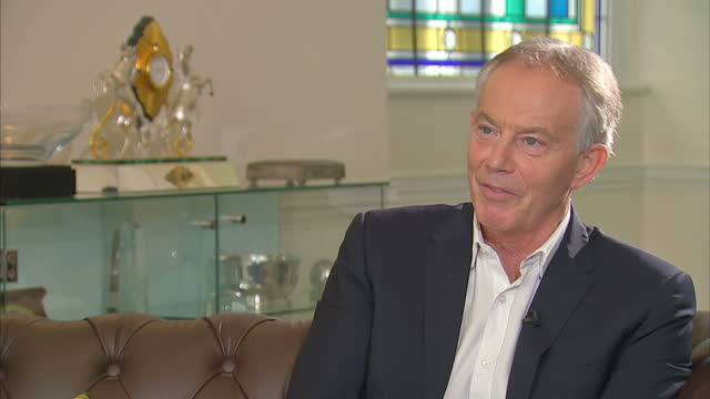 Shows interior shots interview soundbite with former UK Prime Minister Tony Blair speaking on surprise result in 2017 UK General Election QUOTE...