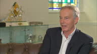 Shows interior shots interview soundbite with former UK Prime Minister Tony Blair speaking on Iraq War QUOTE 'Look I've learnt over time there's no...