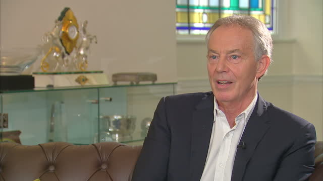 Shows interior shots interview soundbite with former UK Prime Minister Tony Blair speaking on surprise result in 2017 UK General Election QUOTE 'I...
